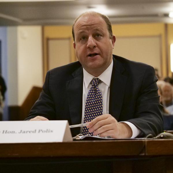 Governor Jared Polis testifies in front of the House Select Committee on the Climate Crisis hearing at the University of Colorado Boulder. (Photo by Casey A. Cass/University of Colorado)