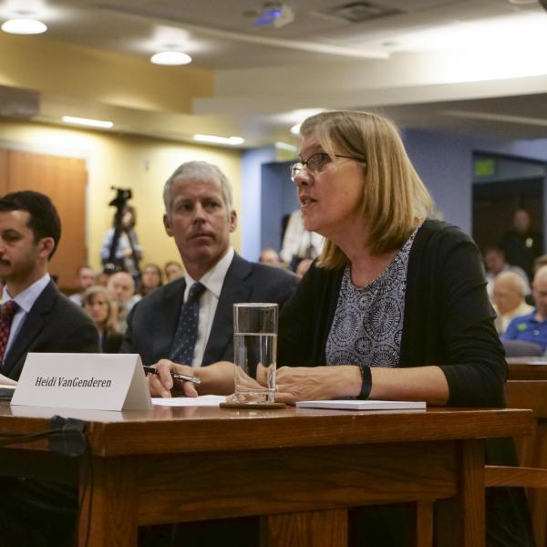 Heidi VanGenderen, Chief Sustainability Officer for the University of Colorado Boulder, testifies during the House Select Committee on the Climate Crisis hearing on campus. (Photo by Casey A. Cass/University of Colorado)