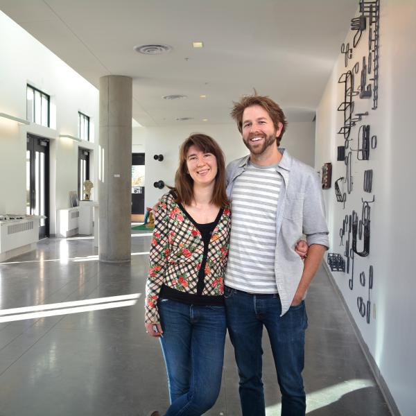 Matt Smith and Ariana Kolins pose together in the Visual Arts Complex