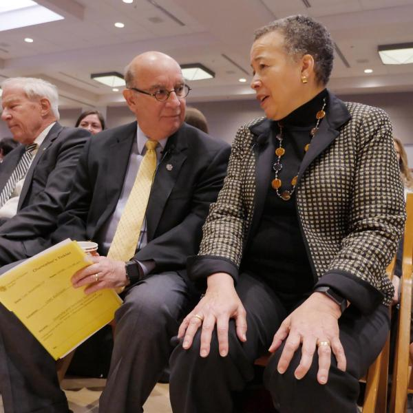 Chancellor Philip DiStefano visits with keynote speaker Beverly Tatum during the Diversity and Inclusion Summit. Photo by Casey A. Cass.