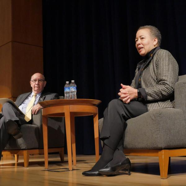 Keynote speaker Beverly Tatum answers a question from Chancellor Philip DiStefano during the Diversity and Inclusion Summit. Photo by Casey A. Cass.
