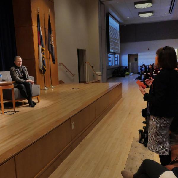 Vice Chancellor for Strategic Relations and Communications Frances Draper poses a question to Beverly Tatum. Photo by Casey A. Cass.