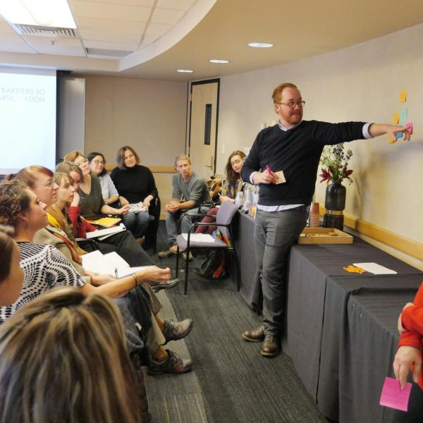 Participants of the Building Relationships & Connecting with Communities - An Innovative Model for Inclusive Engagement session brainstorm. Photo by Casey A. Cass.