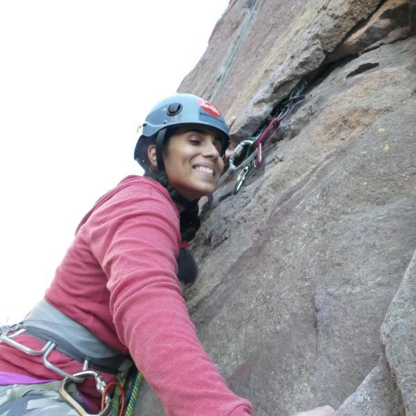 University of Colorado senior psychology major Esha Mehta rock climbing in Eldorado Canyon near Boulder. Mehta is a blind competitive rock climber.
