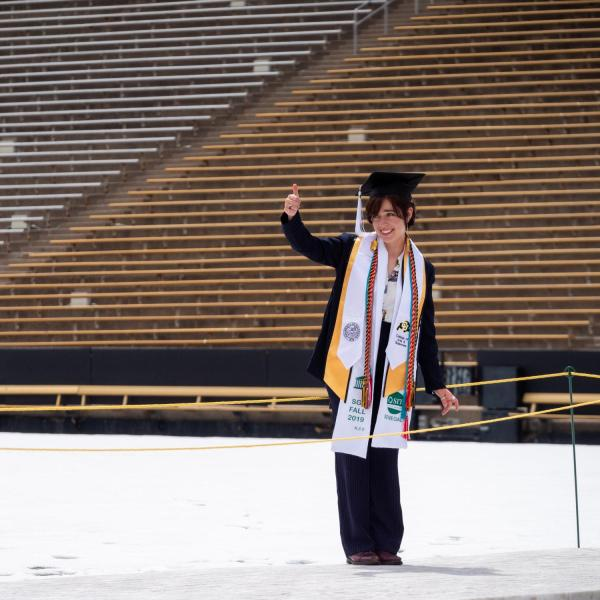 Graduation Appreciation Days photo-ops in and around Folsom Field at CU Boulder. (Photo by Patrick Campbell/University of Colorado)