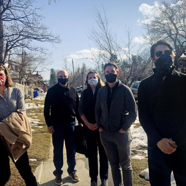 Callie Weiant, a Hill Revitalization Working Group member, Philip DiStefano, Lisa Nelson, leader of HRWG, Pat O'Rourke, and Andrew Shoemaker, former Boulder City Council member and HRWG member.