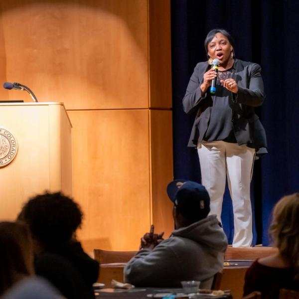 """Scenes from a session titled """"Empowerment Dinner 2020: Strength, Courage & Wisdom"""" at the CU Boulder 2020 Spring Diversity Summit. (Photo by Patrick Wine/University of Colorado)"""