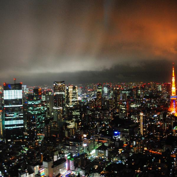 Tokyo at night, with Tokyo Tower the most obvious with the red lights