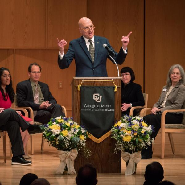 College of Music Dean Robert Shay speaks during the College of Music groundbreaking ceremony. Photo by Glenn Asakawa.