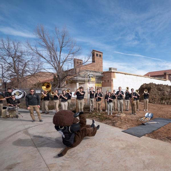 Chip entertains outside of the Imig Music building during the CU College of Music groundbreaking ceremony for the expansion of their building. Photo by Glenn Asakawa.