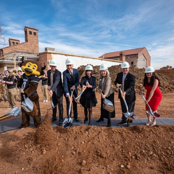 Chip, piano professor David Korevaar, College of Music Dean Robert Shay, Chair of the College of Music Advisory Board Michele Ritter, chair of the Music + campaign Rebecca Roser,  Chancellor Phil DiStefano, and president of the College of Music student government Anoushka Divekar break ground. Photo by Glenn Asakawa.