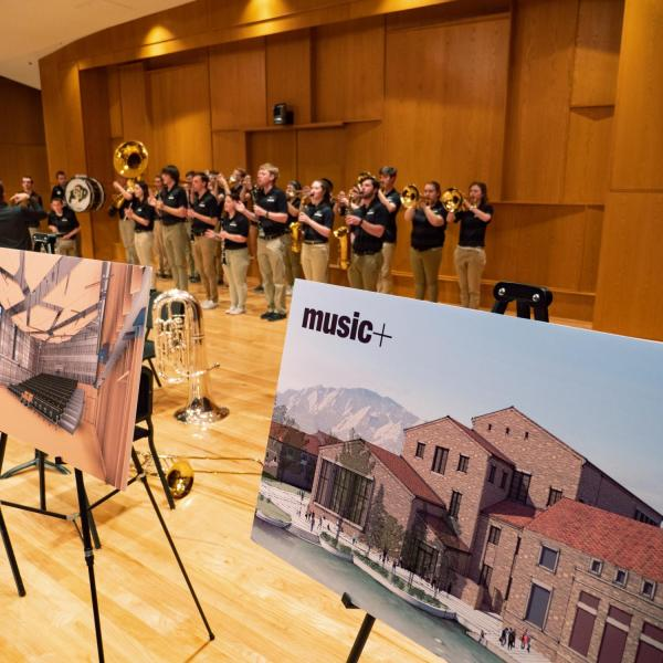CU basketball pep band performs in Grusin Hall during the CU College of Music groundbreaking ceremony. Photo by Glenn Asakawa.