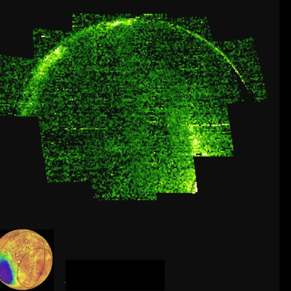 Image 1: This image of the Mars night side shows ultraviolet emission from nitric oxide. The emission is shown in false color with black as low values, green as medium and white as high. These emissions track the recombination of atomic nitrogen and oxygen produced on the dayside, and reveal the circulation patterns of the atmosphere.