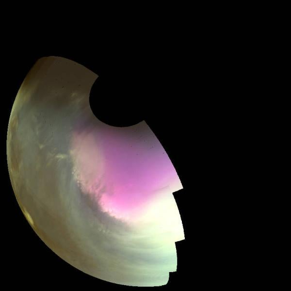 This ultraviolet image near Mars' South Pole was taken by MAVEN on July 10, 2016, and shows the atmosphere and surface during southern spring.