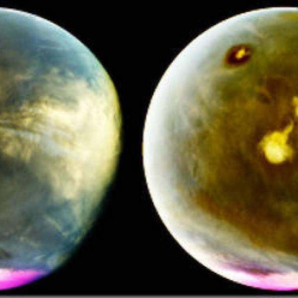 Mars' prominent volcanoes, topped with white clouds, can be seen moving across the disk.