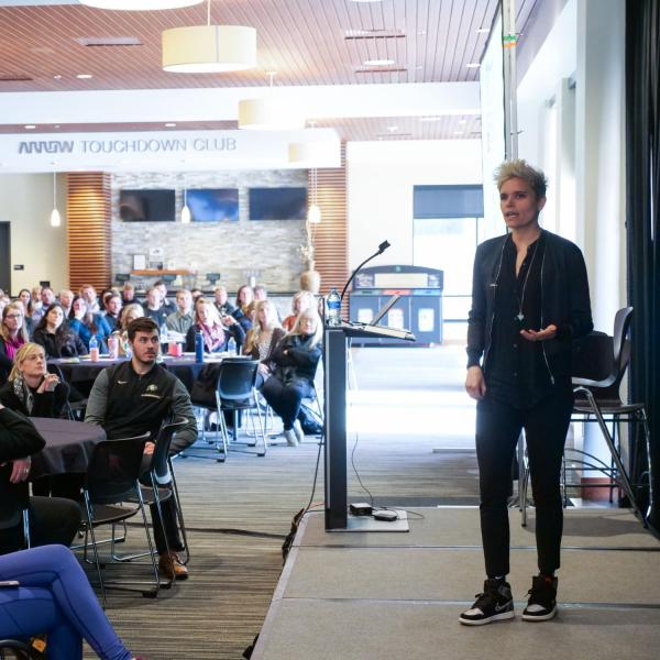 Kate Fagan speaks during the 2020 Inclusive Sports Summit at CU Boulder. (Photo by Patrick Campbell/University of Colorado)