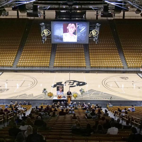 The memorial service for Teri Leiker was held April 9, 2021, at the CU Events Center. Leiker died March 22 at the King Soopers on Table Mesa Drive. (Casey Cass/CU Boulder)