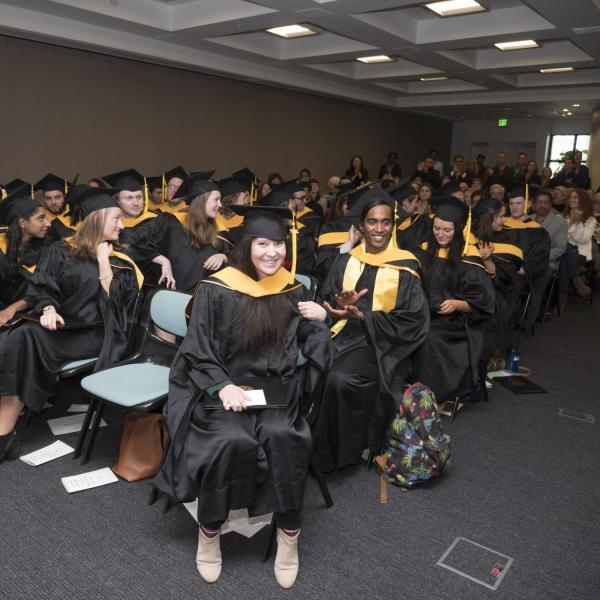 Members of the first graduating class of the Masters of the Environment gather at recognition ceremony
