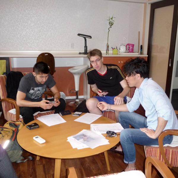 Dormitory orientation with Francisco Kaito Padilla and James Hage, interns, and Jimmy Wu, dorm manager