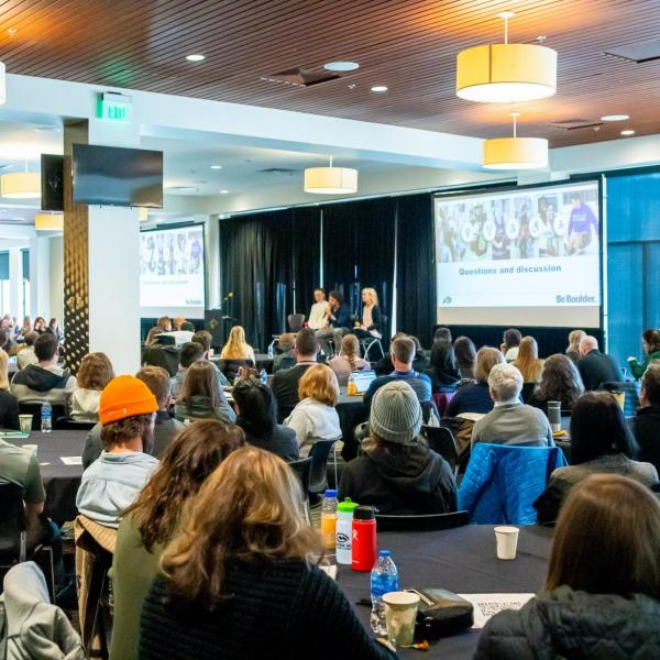 Attendees listen to the 2020 Inclusive Sports Summit morning keynote address at CU Boulder. (Photo by Patrick Wine/University of Colorado)