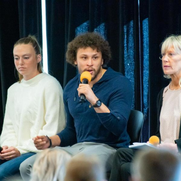 Phillip Lindsay speaks during the 2020 Inclusive Sports Summit morning keynote address at CU Boulder. (Photo by Patrick Wine/University of Colorado)