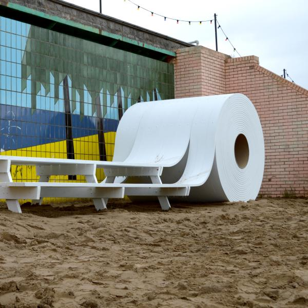 Giant toilet-paper-roll picnic table