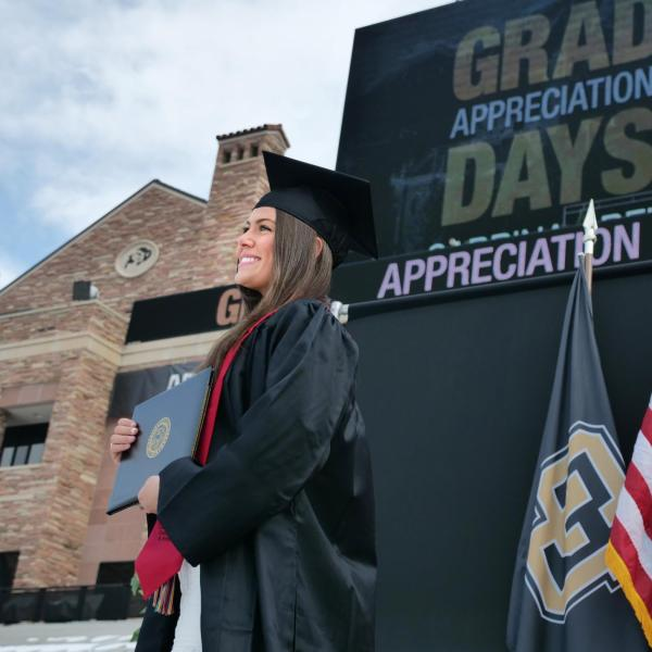 The 2021 Graduation Appreciation Days stage crossing photo-ops in Folsom Field at CU Boulder. (Photo by Casey A. Cass/University of Colorado)
