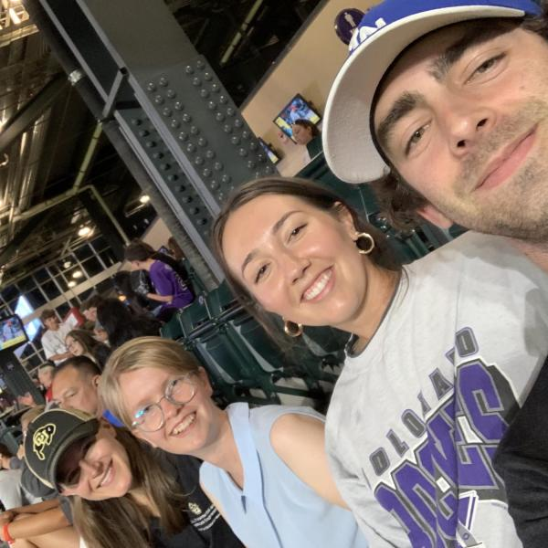 CU Boulder first-place international solar decathlon team members take a selfie during a game against the St. Louis Cardinals on July 1. (Photo provided)