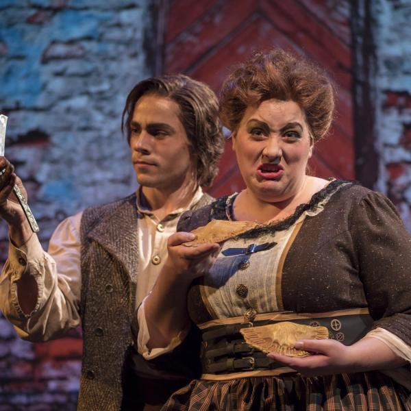 "Skyler Schlenker, left, and Erin Hodgson pose for a publicity still for the CU Opera production of ""Sweeney Todd."" Photo by Glenn Asakawa."