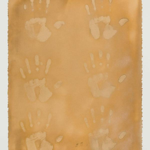 Tim Whiten, Signs of Life I. Artist handprints and gold spray paint on paper.