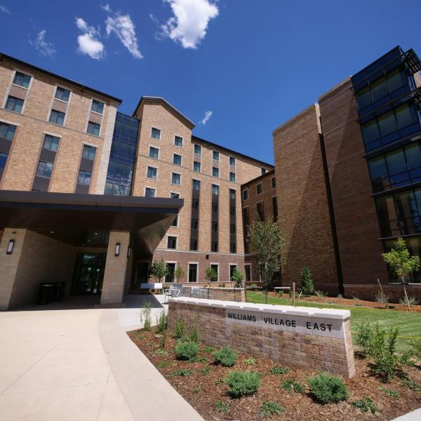 The south-facing entrance at a preview tour of the new Williams Village East residence hall on the CU Boulder campus. (Photo by Glenn Asakawa/University of Colorado)