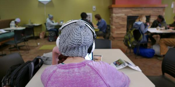A person wearing a knit hat appears at a table facing a laptop, back to the camera.