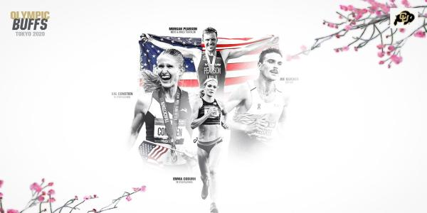 A collage showing 4 of CU Boulder's Olympians from the 2020 Summer Games