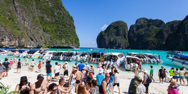 Phi Phi Island in Thailand packed with tourists
