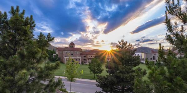 Campus view of sunrise.