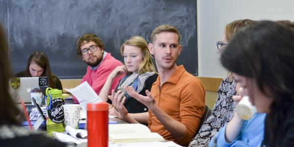 Students discuss religion in Holly Gayley's First-Year Seminar Religious Studies course