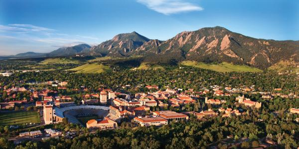 CU Boulder campus aerial view