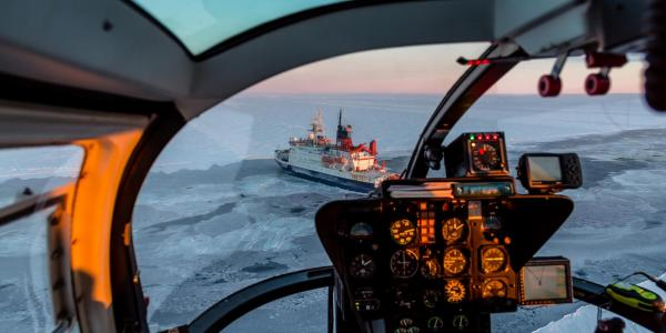 The RV Polarstern in Arctic ice, viewed from a helicopter