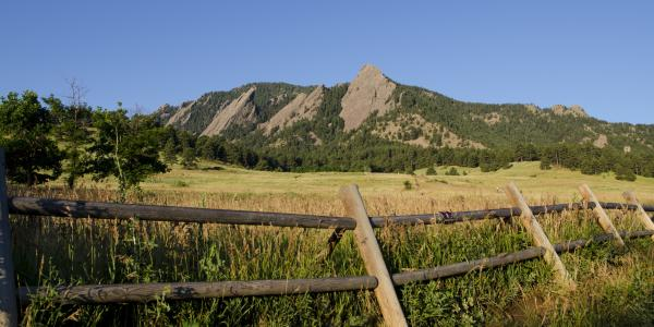 Wooden fence, green field and Flatirons