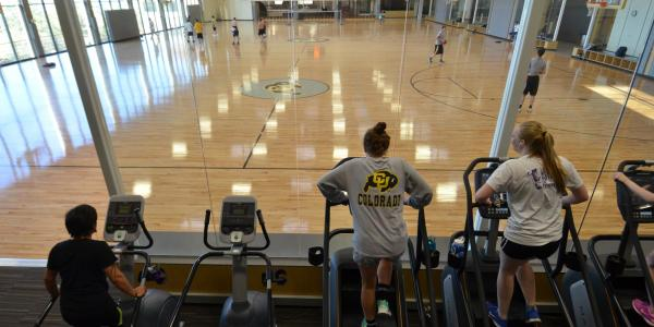 Campus community members work out on ellipticals while watching others play basketball