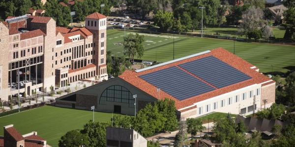 CU Athletic's Indoor Practice Facility features solar panels on its roof