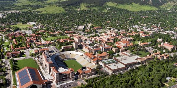 An aerial view of the CU Boulder campus.