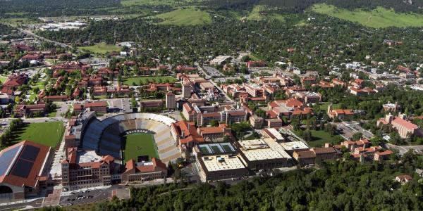 An arial view of the CU Boulder campus.
