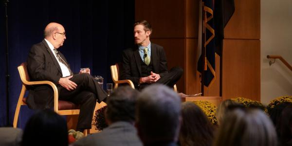 Philip DiStefano and moderator John Kelly following at the 2017 State of Campus. (Photo by Glenn Asakawa/University of Colorado)