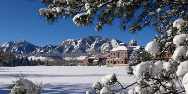 CU Boulder campus in the snow