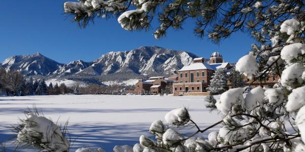 Snow on the CU Boulder campus