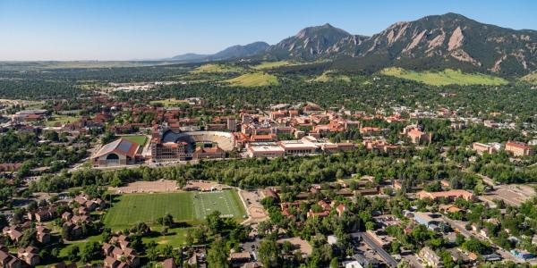 An aerial perspective of the CU Boulder campus