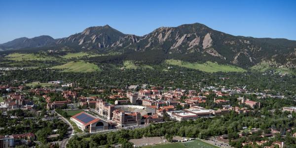 An aerial view of the CU Boulder campus