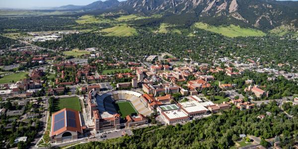 Aerial view of CU Boulder main campus