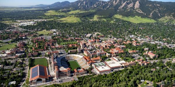 aerial photo of CU Boulder campusl